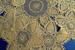 Good Mixed, Matching Set 7 Vintage Beige/Ecru Hand Crocheted Table Doilies, Mats