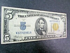 1934-A $5 North Africa Silver Certificate Bank Note Yellow Seal