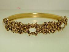 BEAUTIFUL VINTAGE 1960'S FLORENZA ANTIQUED GOLD TONE FAUX MOONSTONE BRACELET!