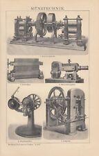 Lithografie 1898: Münztechnik. Münzen Gold-Silber Geld Währung Numismatik