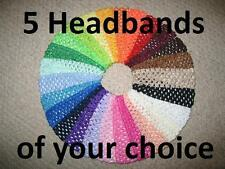 "NEW ""Pick 5 - CROCHET HEADBANDS"" 1.5 inch Girls Elastic Head Bands Hair Bow"