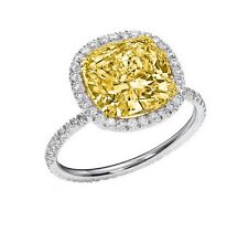 2.80 Ct Fancy Yellow Cushion Cut Diamond Eternity Halo Engagement Ring SI2 GIA