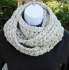 COWL SCARF INFINITY LOOP Off White, Cream Wool Blend Crochet Knit Winter Circle