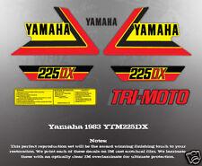 YAMAHA 1985 225DR YTM225DR YELLOW MODEL REAR FENDER DECALS GRAPHICS