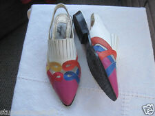 Arpeggios Point Toe Leather Multi Color Slingback Shoes Size 8M