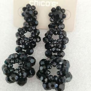 New Chico's Black Chandelier Earrings Beaded Bead Dangle Pierced Nickel Free