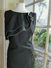TED BAKER Sleeveless Zip Feature Black Dress with Wool + Pockets - Size 3 (UK12)