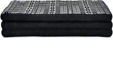 "Leewadee Large Foldable Thai Mattress 82""x46""x3"" Guest Bed Tri-Fold Yoga Black"