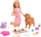 """Barbie Doll and Newborn Pups Playset (11.5"""" Blonde) Mommy Dog 3 Puppies Sep.28"""