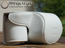 Case Pouch Leather For sony NEX-6 Nex 6 A6000 White
