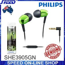 PHILIPS SHE3905GN Headphones Earphones with Mic - Rich Bass - GREEN - GENUINE