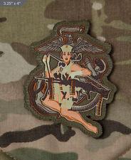 Woven Morale Patch - Milspec Monkey - Pin Up DESERT MARINE - MULTICAM Arid