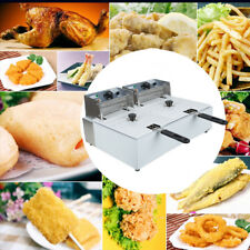 CA 11L  Dual Tanks Electric Deep Fryer Commercial Tabletop Fryer+Basket+Scoop CE