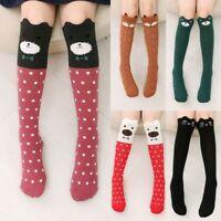 New Little Girls Teenage Cartoon Animals Knee High Socks Long Cotton Stockings