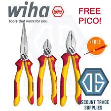WIHA VDE Side Cutter Combination Long Nose Plier Set 38637 + FREE 3.5mm PICO