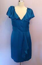 MARKS & SPENCER BLUE SILK BEND FRILL TRIM DRESS SIZE 12