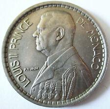 MONACO .LOUIS II.20 FRANCS .1947  .CUPRO.NICKEL .10 GR .30 MM .TRANCHE CANNELEE