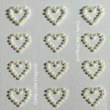 24 x 13mm Hearts Ivory Acrylic Pearl Stick on Self Adhesive GEMS WEDDINGS FAVORS