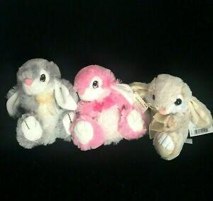"2 DanDee Plush Pink Gray Bunny Rabbits 7"" Easter & 1 Tan Tom Toys Stuffed Lovey"