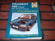 HAYNES MANUAL FOR PEUGEOT 405 DIESEL MODELS. 1988 TO 1997. E TO P REG.