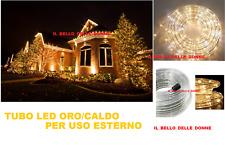 TUBO LED ORO CALDO IMPERMEABILE ESTERNO 10 METRI LUCI NATALE MERRY CHRISTMAS