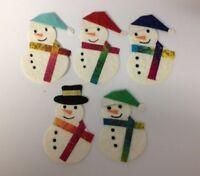 5 Snowman Snowmen Christmas Card Making Scrapbook Craft Embellishments Toppers