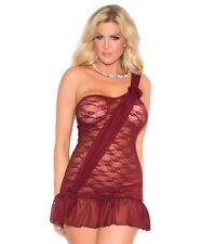 Burgundy Lingerie Set 2X Women Plus Red Lace One Shoulder Babydoll Nightie Panty