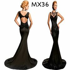 Sz 10 12 Black Sequin Sleeveless Formal Cocktail Evening Gown Party Maxi Dress