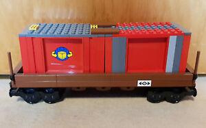 LEGO 9V Eisenbahn Containerwaggon (Eigenbau/Unikat)