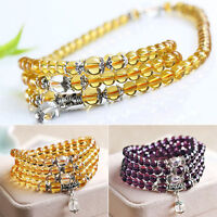 6mm Crystal Buddhist Amethyst 108 Prayer Beads Mala Bracelet Necklace Cheaply