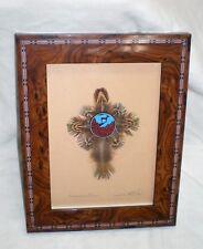 """Dream Window """"Standing Deer"""" feather art Ken Banks, SIGNED U.S. Indian artist."""