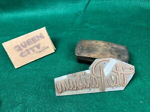 """Vintage Lead+Copper letterpress print block 1950s 60s """"The Parisian"""""""