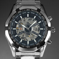 Mens Watch Automatic Silver Stainless Steel Case Steampunk Analog Display Luxury