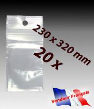 LOT 20  sachets pochette plastique zip 230x320 23x32 alimentaire 50 microns   f