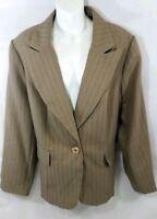 Giorgio Sant Angelo Womens Blazer Size 20W Pinstripe Brown Jacket Sport Coat
