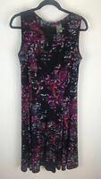 Taylor Sz 14 Black Pink Fit & Flare Sleeveless Dress