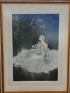 """Louis ICART French ART DECO """"Les Lilies"""" ORIGINAL Color Etching 1934"""