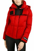 Calvin Klein Women's Cropped Puffer Long Sleeve Coat | Neon Red - Large