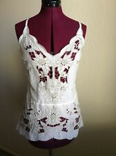 NWT Free People $198 Listen To The Music Embroidered Top*Ivory*XS
