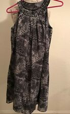 NWT White House Black Market Womens Size 4 Jewel Neck Trapeze Print Dress New