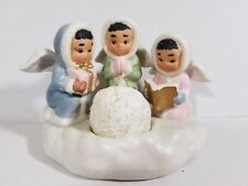 New 3-Porcelain Snow Angels Candle Holder With Glitter Trim And Snowball Candle