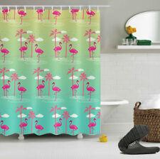 Rose Flamingo & Palm Tree Shower Curtain Liner & Hooks Bathroom Decor Waterproof