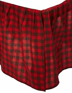 BUFFALO PLAID Twin Queen King BEDSKIRT : TIMBERLINE RED BLACK CHECK RUFFLE SKIRT