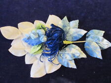 "Vintage Millinery Flower Collection Blue Velvet 3/4-3"" White German H2422"