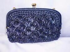 Vintage Dark Blue Beaded Cellophane Straw Clutch with Chain Handmade in Japan