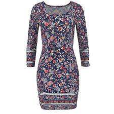 wow Stretch Kleid Gr.44 XXL Jerseykleid SHIRTKLEID blau Blumen Muster Paisley