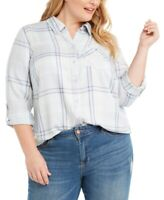 Style & Co. Women's 3x Plus Size Plaid Button-Up Top, Roll Sleeve, $57, NwT