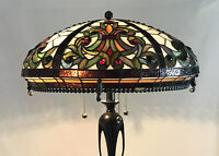 """Vtg Stained Glass Lamp Shade Arts & Crafts Deco Mission Tiffany Style 20"""" Large"""
