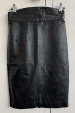 Vintage Merivale Hemmes High Waisted Black Leather Pencil Skirt Size 8