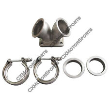 """CXRacing Turbo Y Elbow T4 Twin Scroll Adapter 2.5"""" Vband Flange and Clamp Kit"""